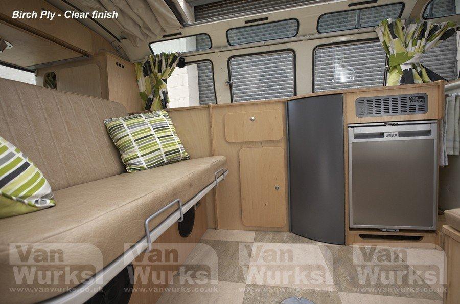 side view split screen birch ply interior