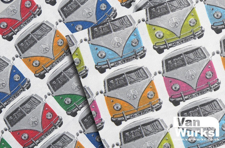 Fabric featuring front view of VW camper