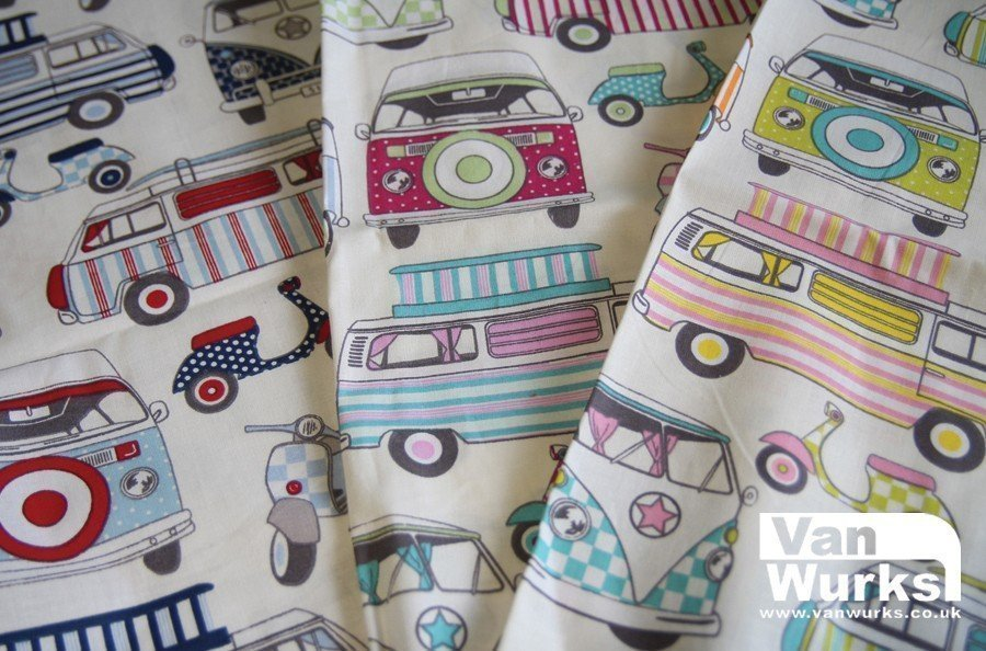 Happy Campers patterned fabric for curtains etc