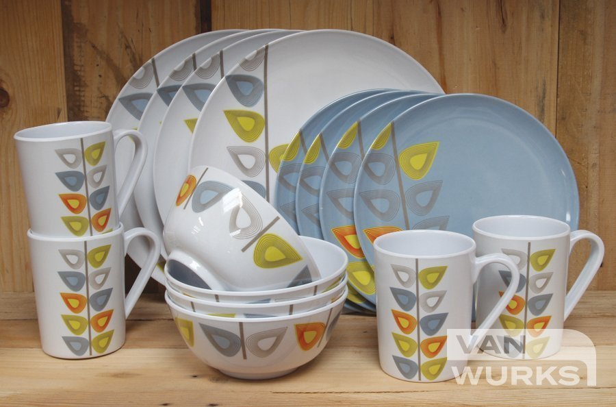 Leaf 16pc Melamine Dinner Set Vanwurks