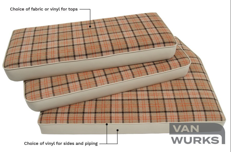 Trimmed cushion set for VW camper rock and roll bed